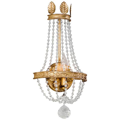 "Viola 17 3/4"" High Distressed Gold Leaf Wall Sconce"