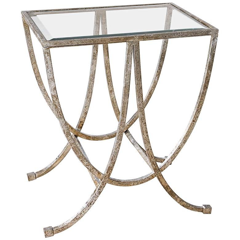 "Marta 24"" Wide Antiqued Silver Leaf Iron Side Table"