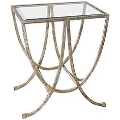 "Marta 24"" Wide Antiqued Silver Leaf Iron Side Table"
