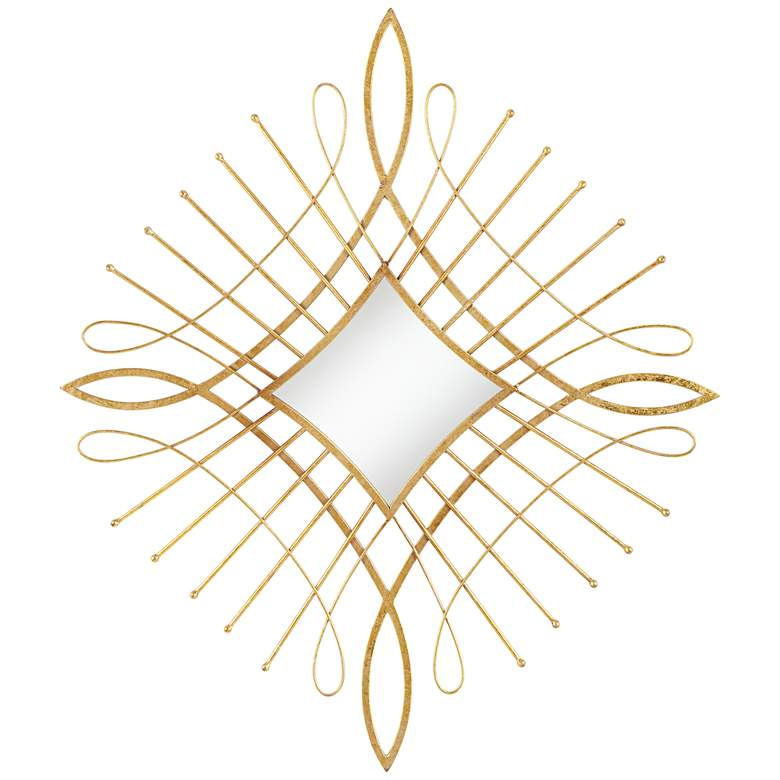 "Mailli Gold Wire 31 1/2"" x 36 1/2"" Diamond Wall Mirror"