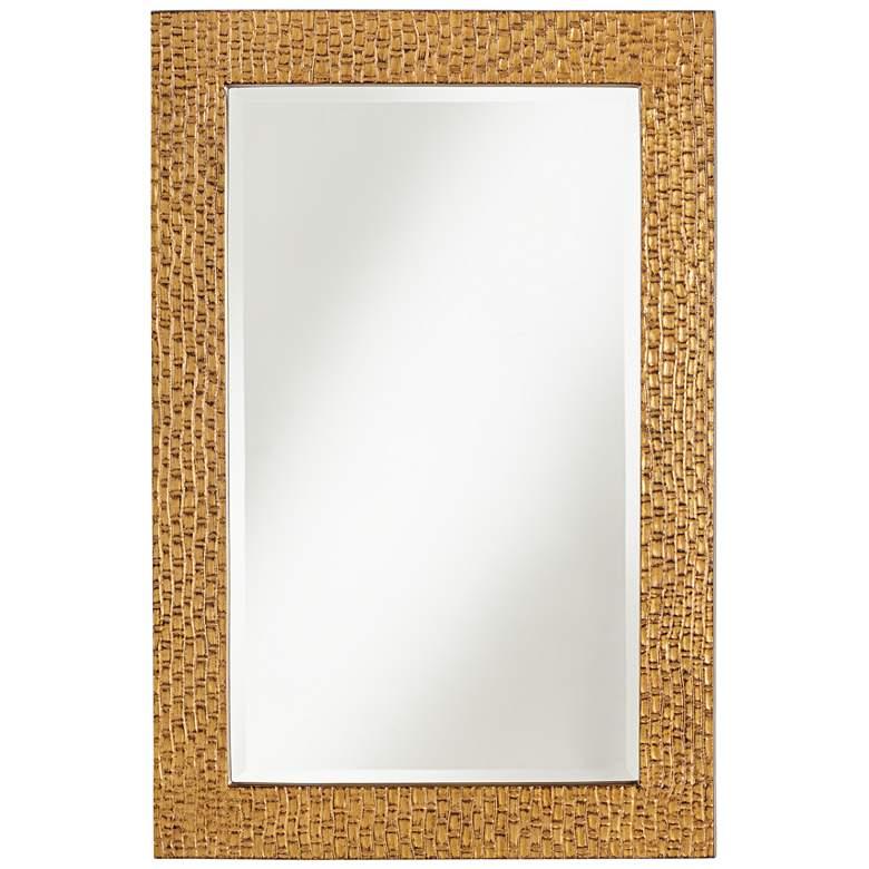 "Mirella Bronze Indent Bamboo Pattern 24"" x 36"" Wall Mirror"