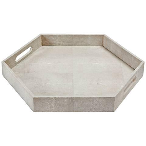 "Regina Andrew Design Ivory-Gray 20"" W Hexagonal Serving Tray"