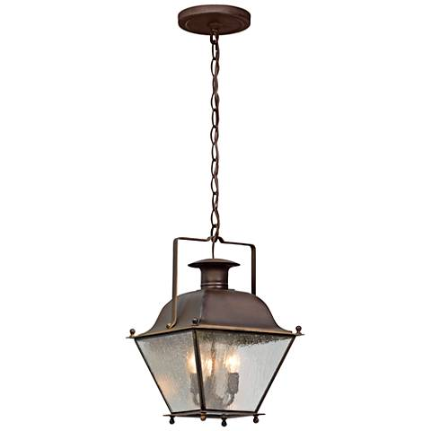 "Wellesley 15""H Natural Rust Outdoor Hanging Light"