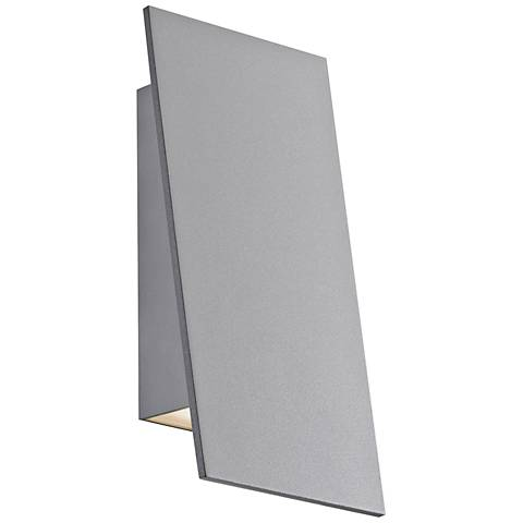 "Angled Plane 7 3/4""H Gray Narrow LED Outdoor Wall Light"