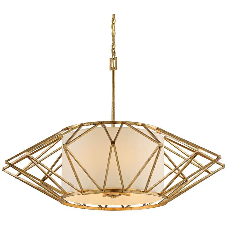 "Calliope 42"" Wide Rustic Gold Leaf Pendant Light"
