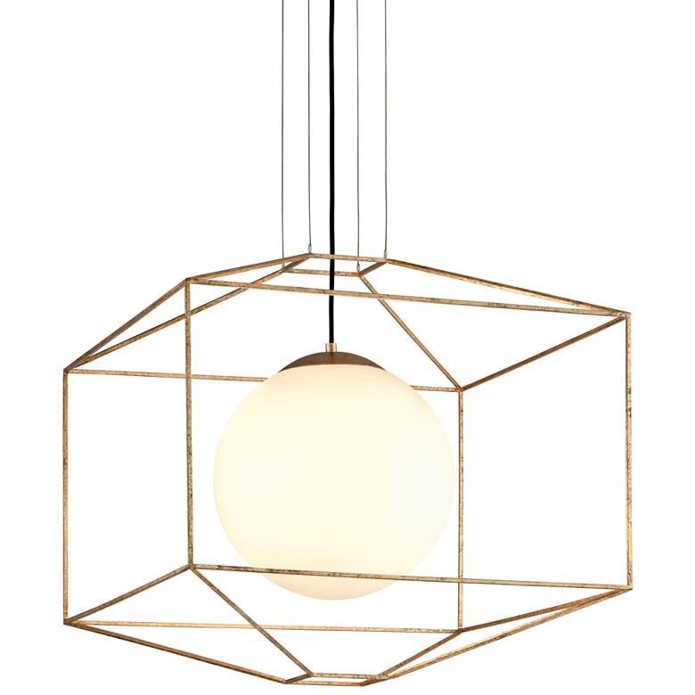"Troy Silhouette 25"" Wide Gold Leaf Modern Pendant Light"