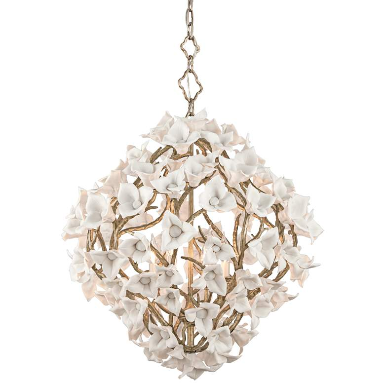 """Lily 26 1/4"""" Wide Enchanted Silver Leaf Pendant Light"""