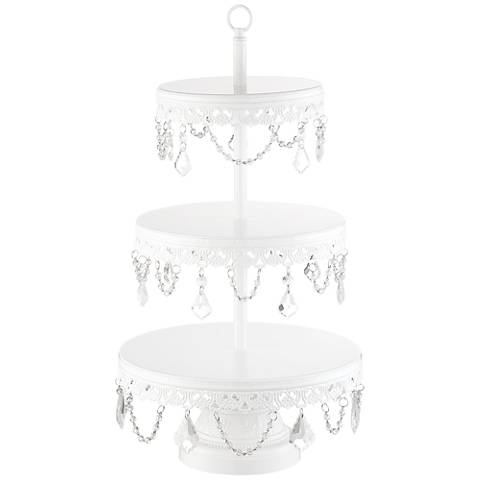"""La-Romain White Beaded 19""""H 3-Tier Cookie or Cup-Cake Stand"""