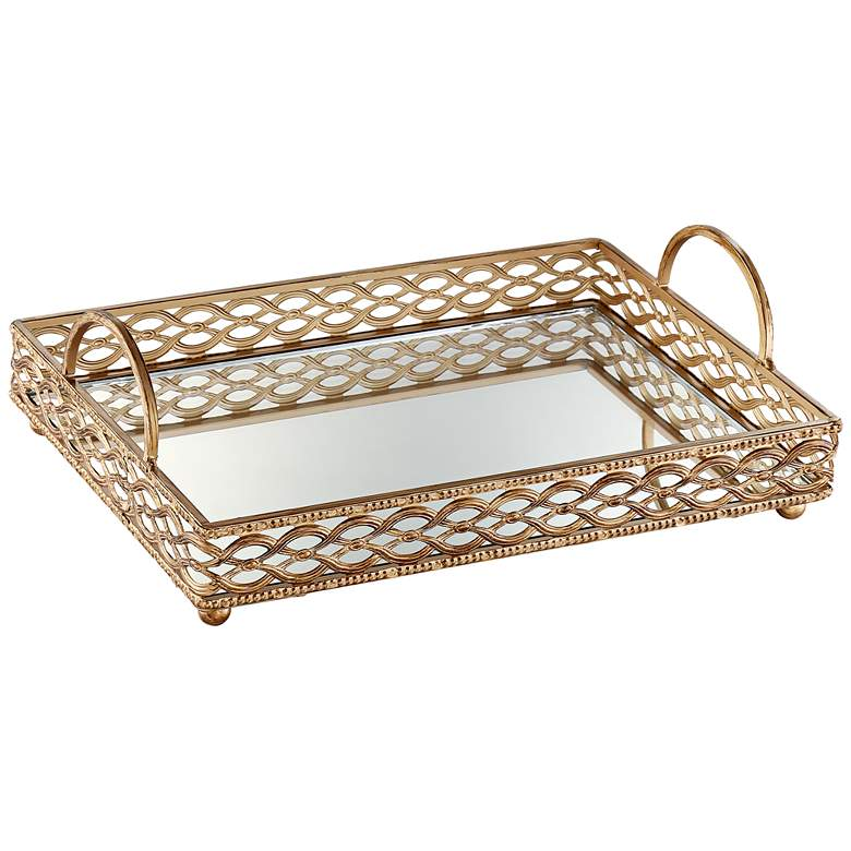 """Magot 18"""" Wide Antique Gold Mirrored Tray"""
