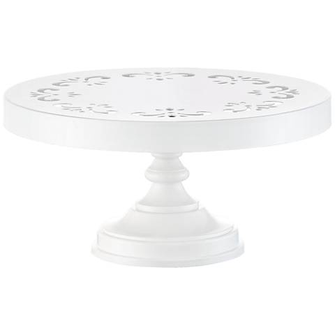 "York White 10"" Round Single Tier Cake Stand"
