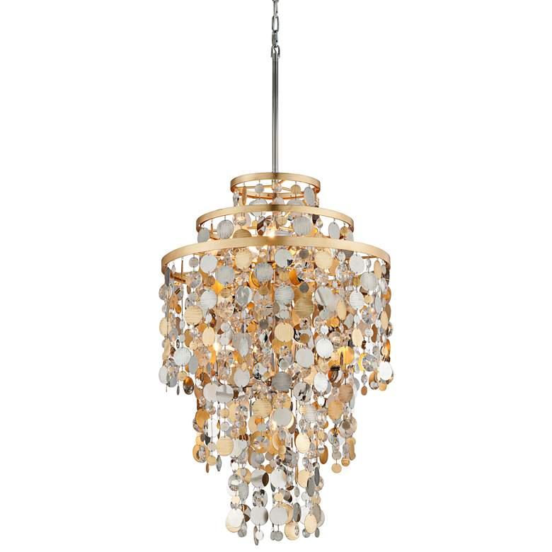 """Corbett Ambrosia 24"""" Wide Gold and Silver Leaf Pendant Light"""
