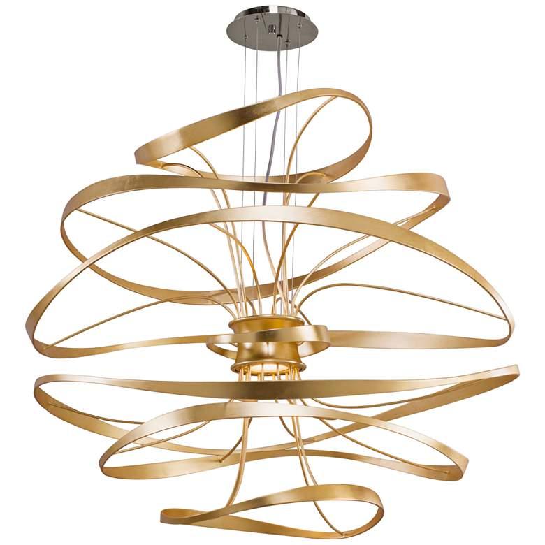 """Corbett Calligraphy 42"""" Wide Gold Leaf LED Pendant Light"""