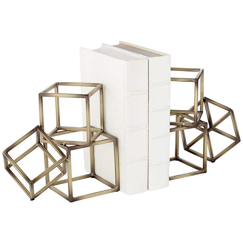 "Tricube Antique Brass Finish 7 1/2"" High Geometric Bookends"