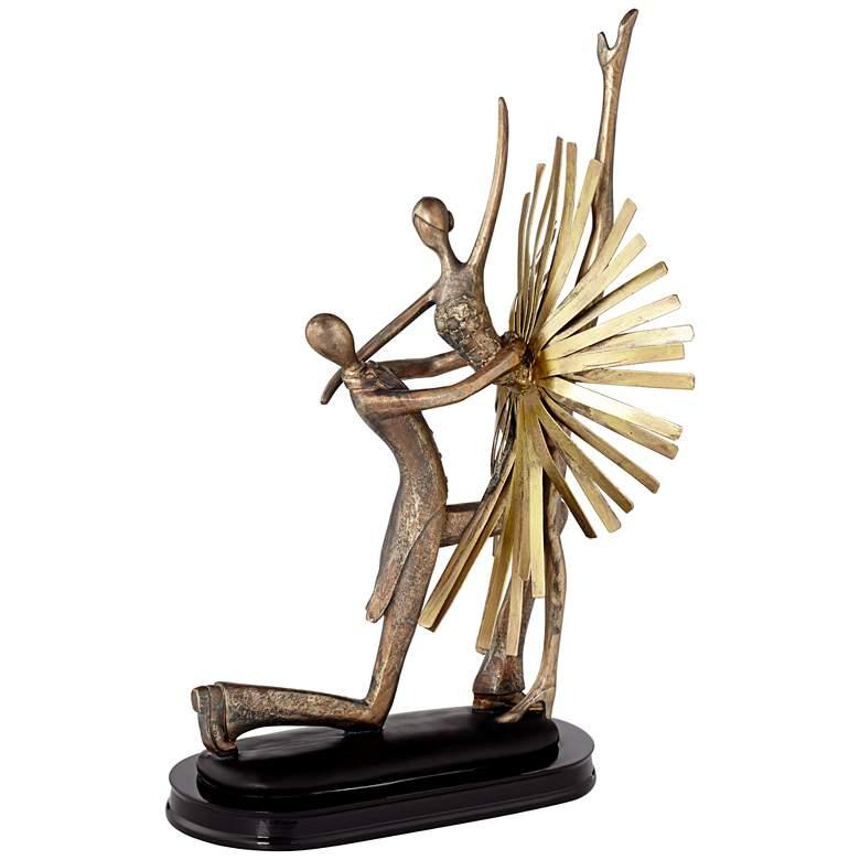 """Dance Partners 14 1/2"""" High Gold-Bronze Sculpture"""