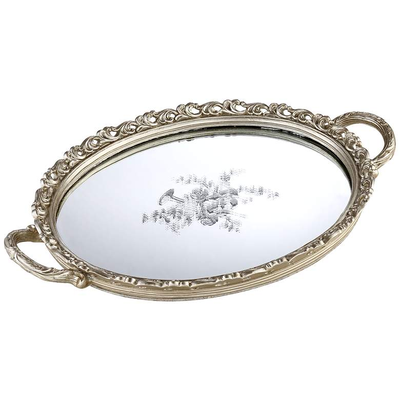 """Bellington 17 1/4"""" Wide Silver Floral Mirrored Serving"""
