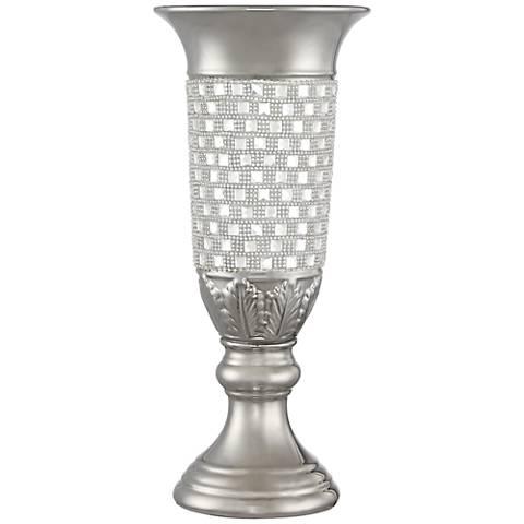 """Alino Crystal 16"""" High Silver Pillar Urn Vase"""