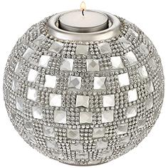 """Candelo 4 1/4"""" High Crystal Beaded Tealight Candle Holder"""