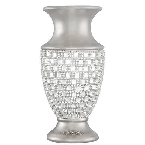 """Ceraso 11 1/2"""" High Silver and Crystal Urn Vase"""