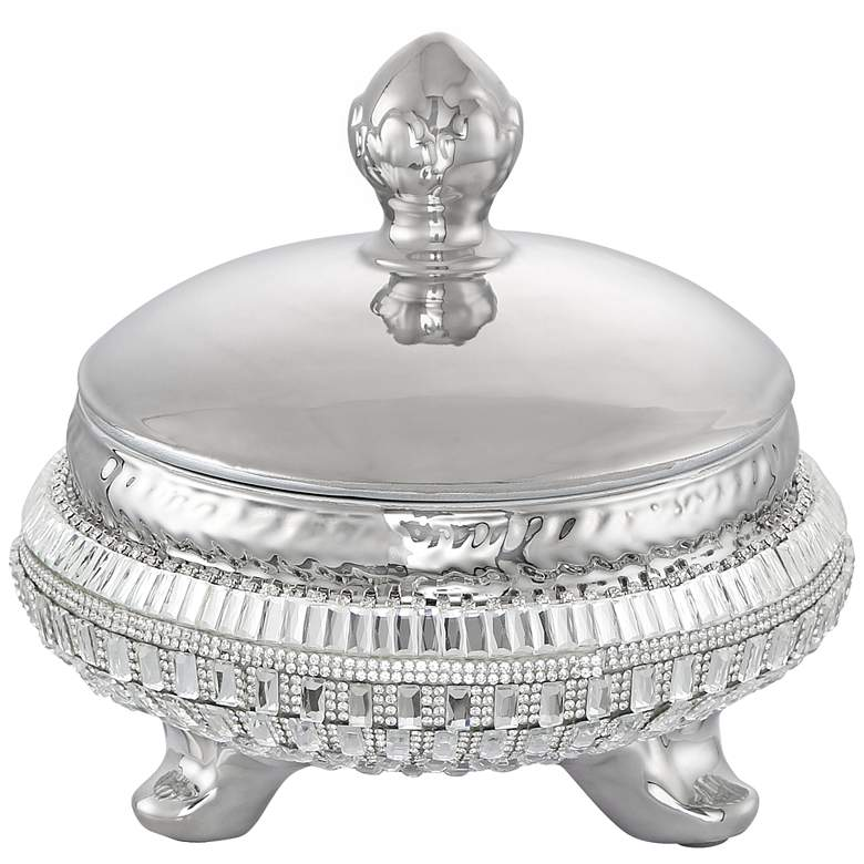 """Canicatti 7 1/2"""" High Silver and Crystal Jar with Lid"""