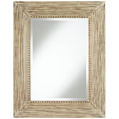 "Daryn Wood 30 3/4"" x 38 3/4"" Beveled Wall Mirror"