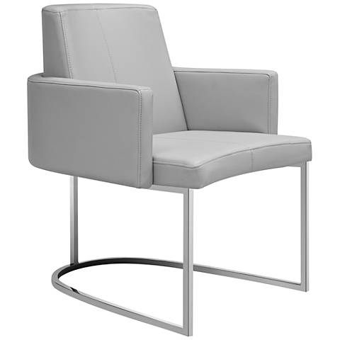 Chichi Taupe Faux Leather Dining Armchair