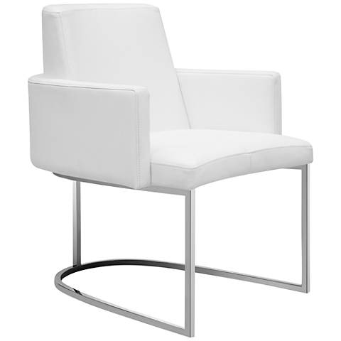 Chichi White Faux Leather Dining Armchair