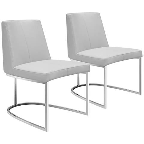 Chichi Taupe Faux Leather Dining Chair Set of 2