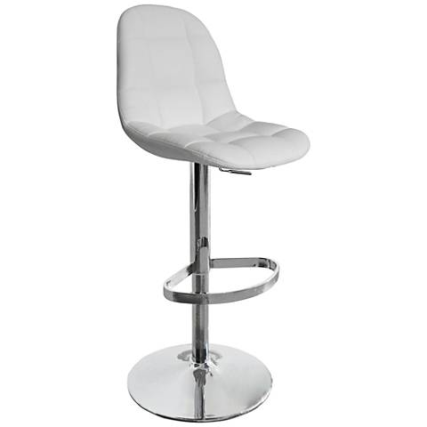 Benjamin White Faux Leather Adjustable Swivel Barstool