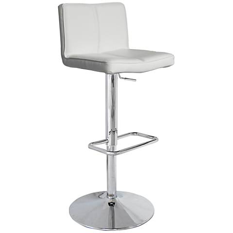 Charlie White Faux Leather Adjustable Swivel Barstool
