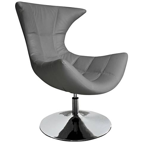 Charlotte Gray Faux Leather High-Back Swivel Armchair
