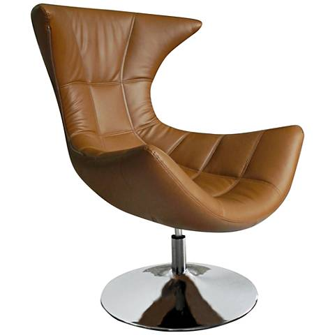 Charlotte Tan Faux Leather High-Back Swivel Chair