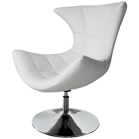 Charlotte White Faux Leather High-Back Swivel Armchair