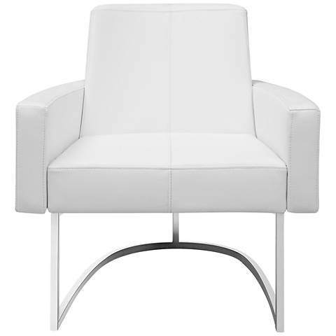 Chichi White Faux Leather Oversized Padded Armchair
