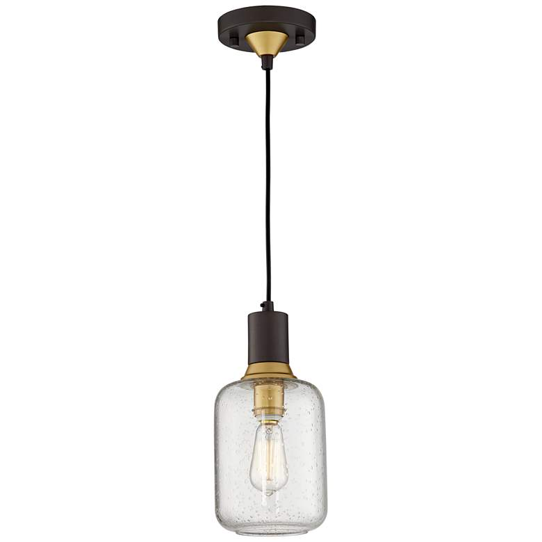 9P552  - Mini Pendant With Seeded Glass Shade