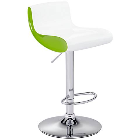 Cami Black and White Adjustable Swivel Bar Stool