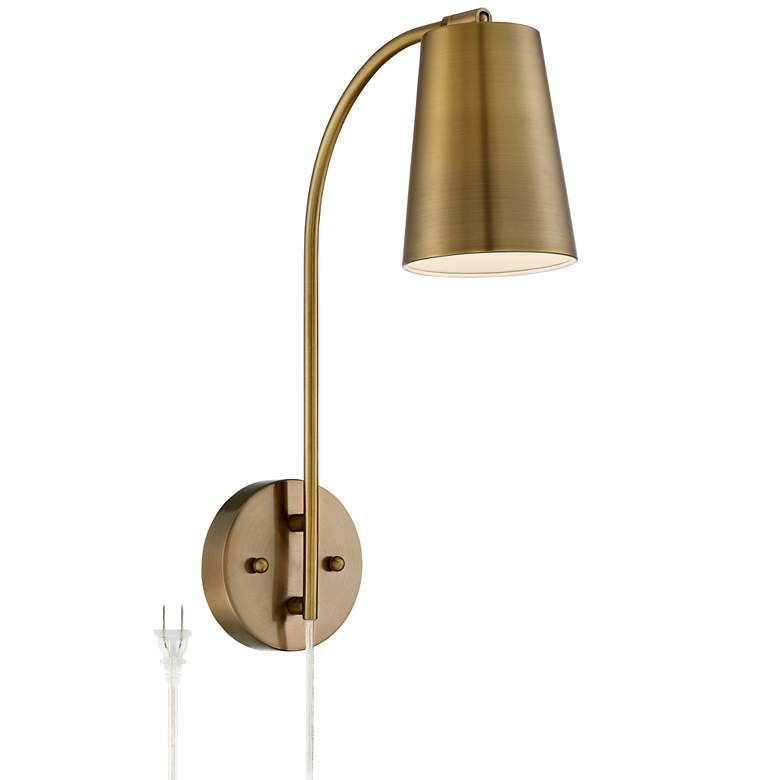 online retailer ce401 8d981 Sully Warm Brass Plug-In Wall Lamp