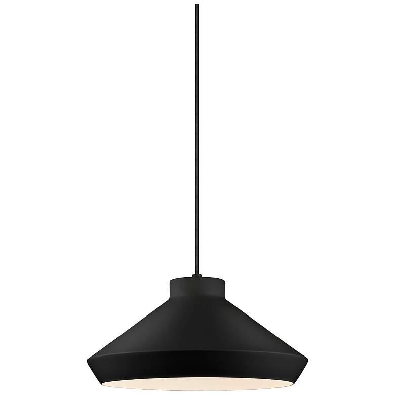 "Sonneman Koma 15"" Wide Satin Black Pendant Light"