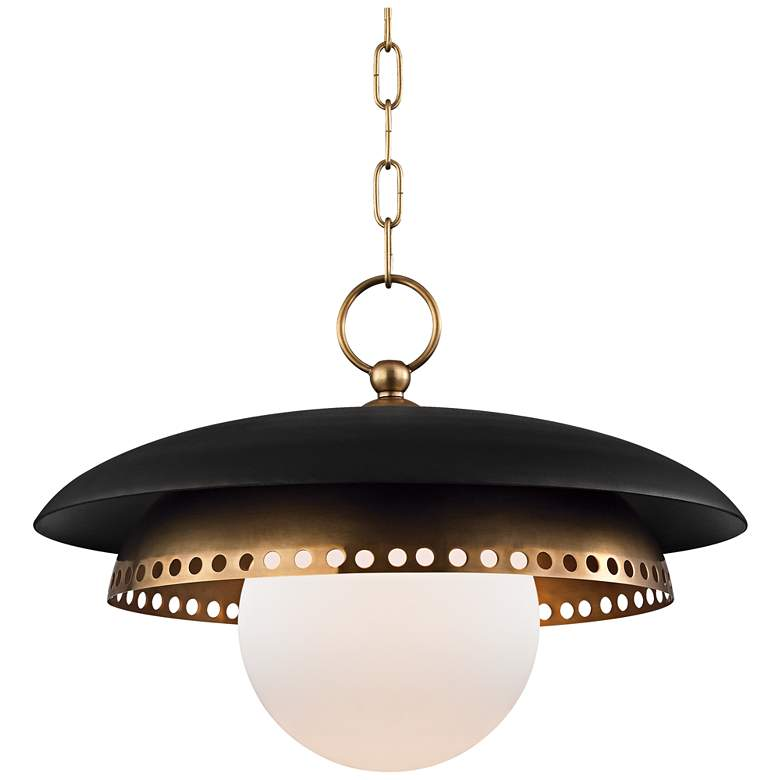 "Herikimer 17 1/2"" Wide Aged Brass and Black Pendant Light"