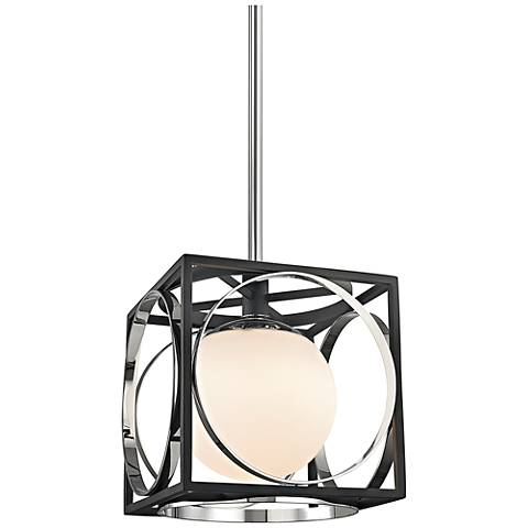 "Wadsworth 10"" Wide Polished Nickel and Black Mini Pendant"