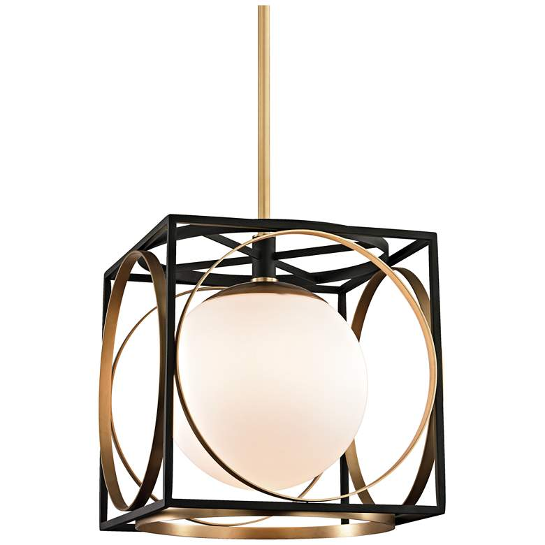 """Wadsworth 13 1/2"""" Wide Aged Brass and Black Pendant Light"""