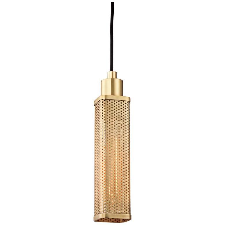 "Hudson Valley Gibbs 2 3/4"" Wide Aged Brass Mini Pendant"