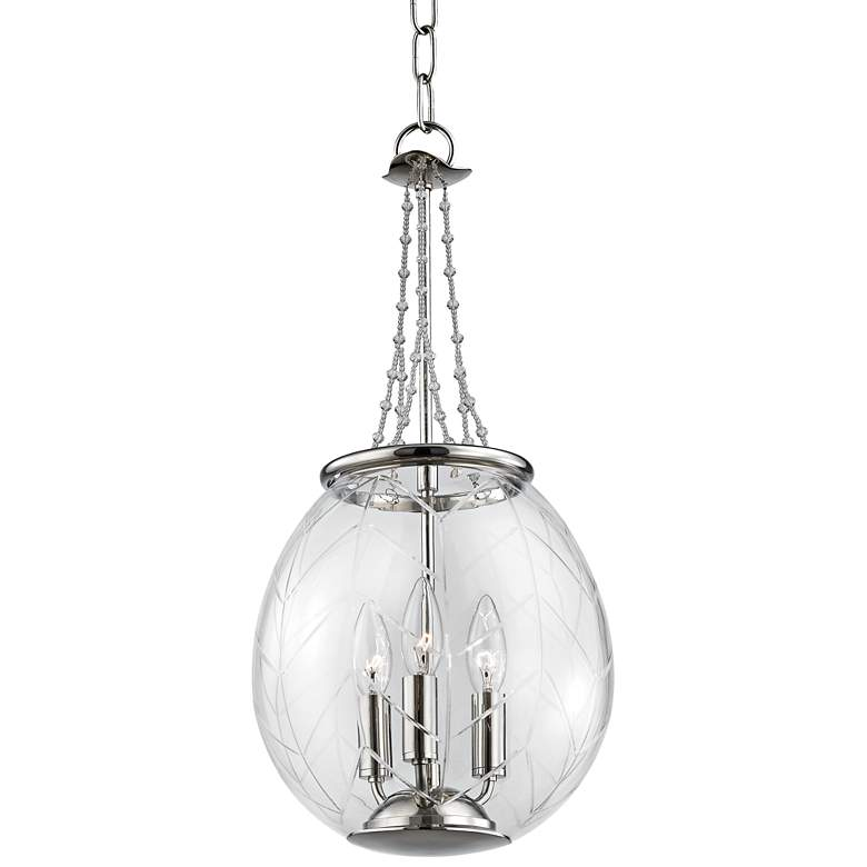 "Pierce 10 1/2"" Wide Polished Nickel Mini Pendant"