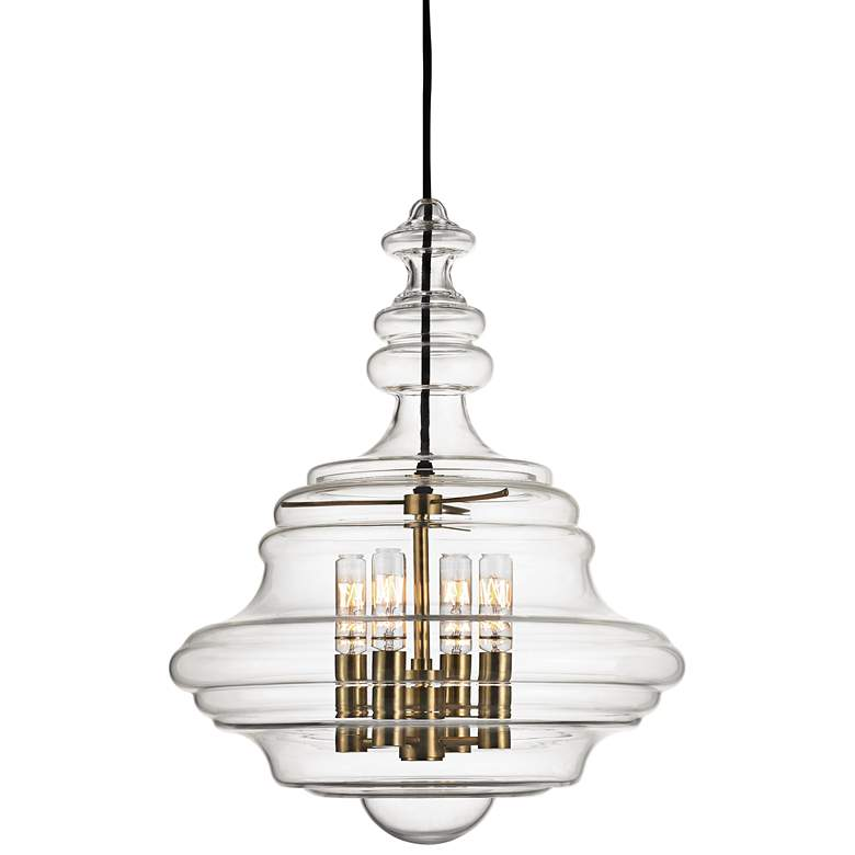 "Washington 15 1/2"" Wide Aged Brass Pendant Light"