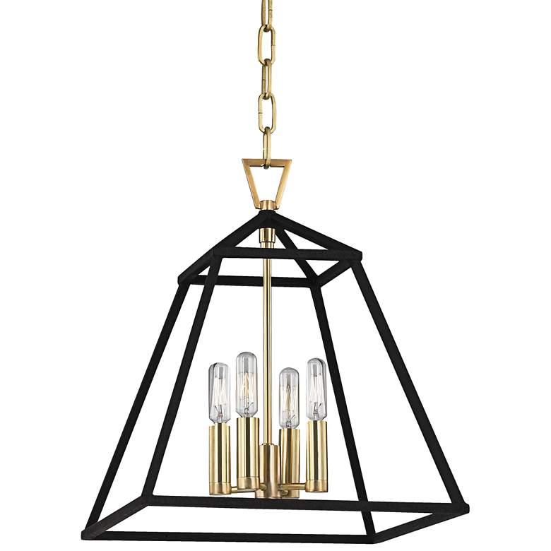 """Hudson Valley Webster 14"""" Wide Aged Brass Pendant Light"""