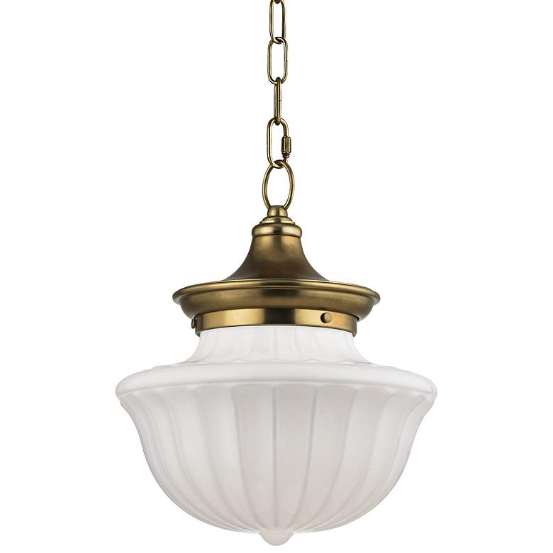 """Hudson Valley Dutchess 12"""" Wide Aged Brass Pendant Light"""