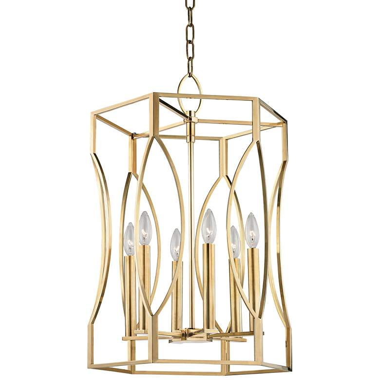 """Hudson Valley Roswell 17 1/2"""" Wide Aged Brass Pendant Light"""