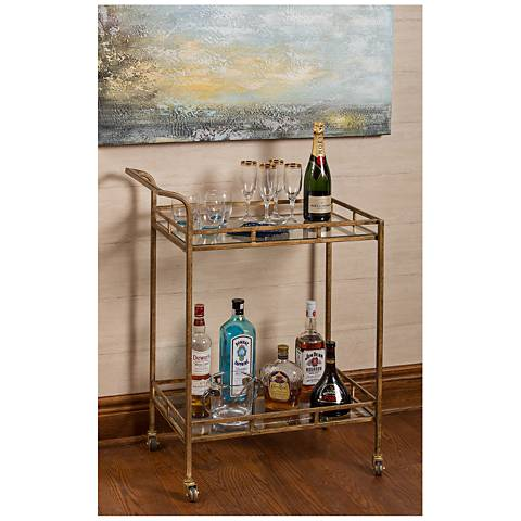 Cooper Classics Esther Gold 2-Shelf Rolling Bar Cart