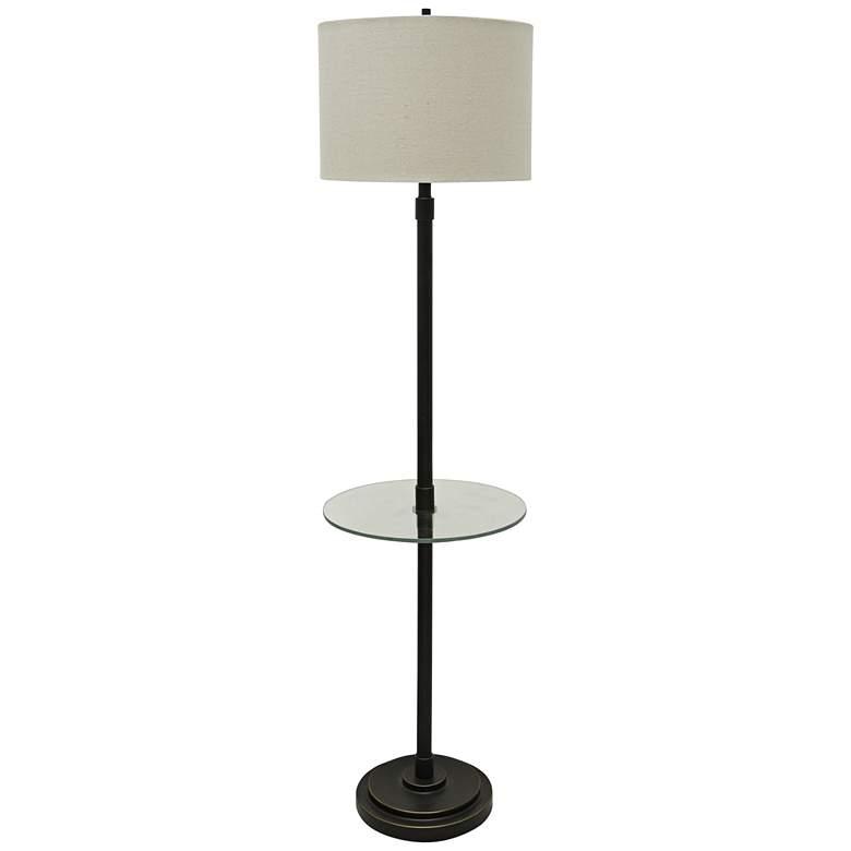 Perlin Bronze Tray Table Floor Lamp