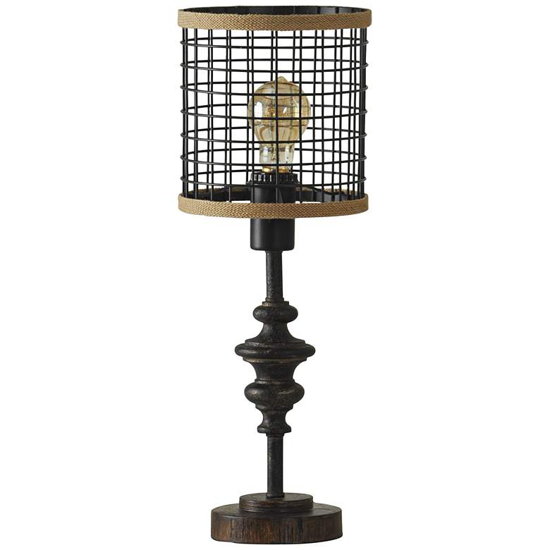 "Jalome Vintage 20""H Black Metal and Burlap Cage Table Lamp"