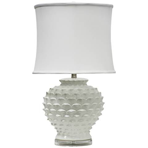 Terratella Textured White Round Table Lamp